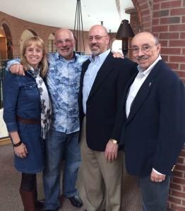 (From left) Debbie Casanova ('81), Frank Casanova ('80), Paul Caiafa ('80), Professor Bruce Saulnier