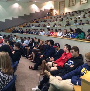 Students, faculty and staff packed the Mount Carmel Auditorium for alumnus Frank Casanova ('80), featured guest lecturer for the Dean's Distinguished Speaker Series.