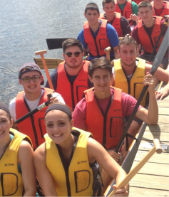 Incoming School of Business students in the 3+1 program recently attendeded a team-building session at the Connecticut River.