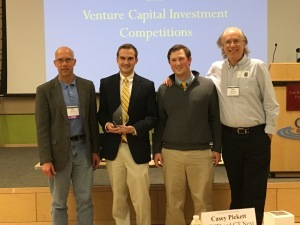 Left to right: Bill Kenney (CEO, Test My Pitch); Charles Blizard (Senior); Jacob Armenia (Senior); Prof. Dale Jasinski